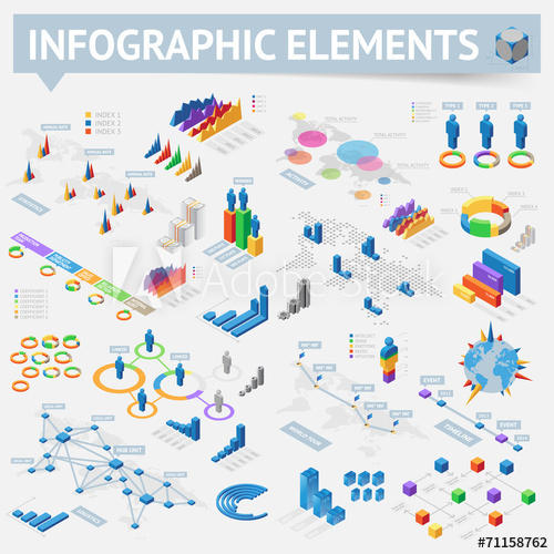 set-of-isometric-infographics-design-elements
