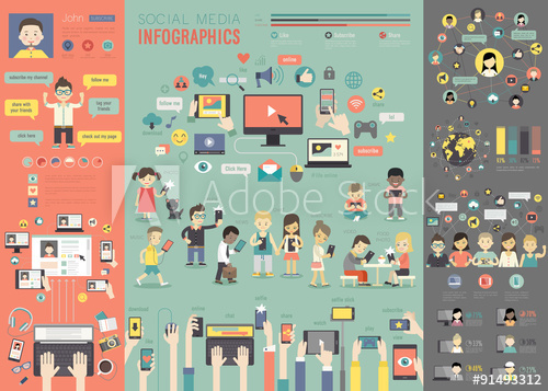 social-media-infographic-set-with-charts-and-other-elements