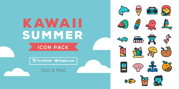 free-download-kawaii-summer-icon-pack