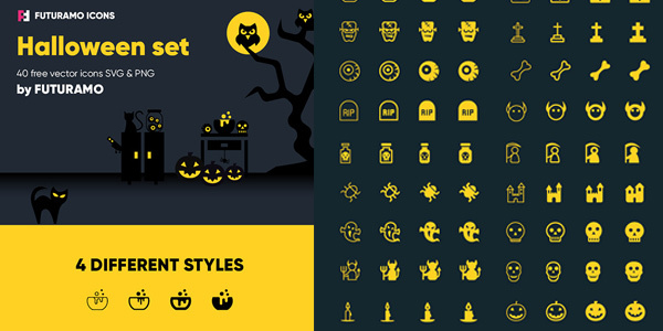 spooky-halloween-40-icons-4-styles
