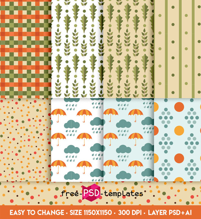 free-autumn-vector-pattern-leaves-ornaments-vegetables