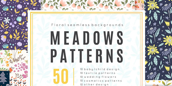 Meadow-50-vector-seamless-patterns