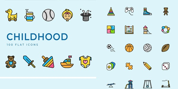 childhood-flat-icons-set