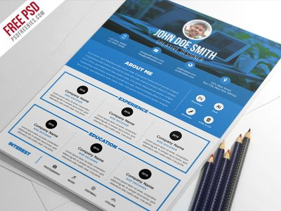 Free PSD : Clean And Designer Resume CV Template PSD - 15