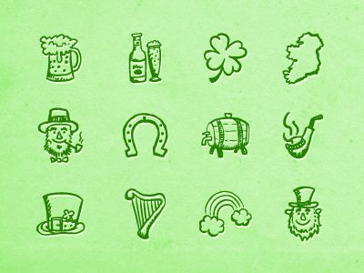 Hand-drawn St. Patrick's Day Icons par Hatchers