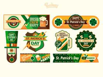 St. Patrick's day banners and stickers par Peecheey