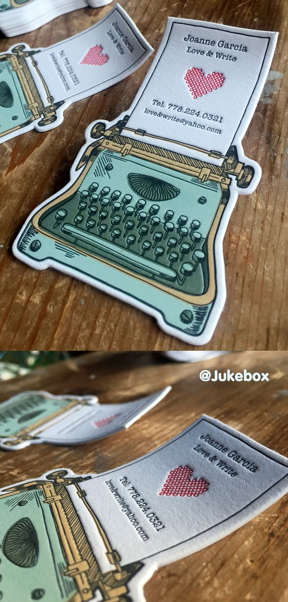 Cute Typewriter custom shaped business card printed with Letterpress.  Produced by #Jukeboxprint: