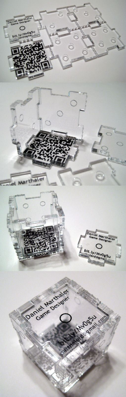 Laser Cut Acrylic Business Card Which Becomes A 3D Die: