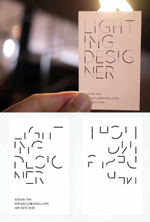 Business Cards For A Lighting Designer That Are Illegible Until Held Up To Light Via