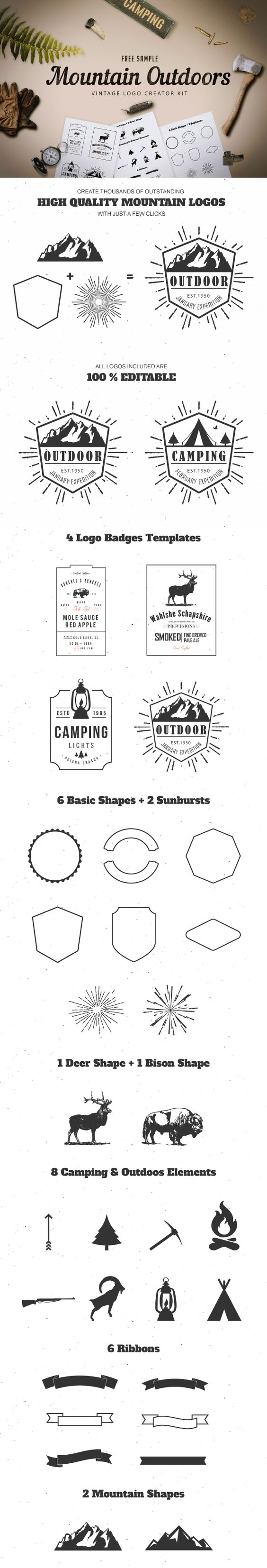 Freebie - Mountain Outdoor Vintage Logo Kit par Mircea Bucsa