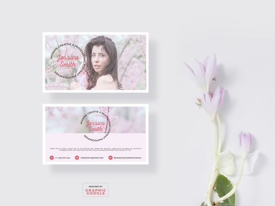 Free Blooming Business Card Mockup & Photographer Template - 02/08
