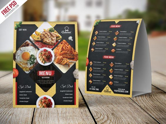 Free PSD : Restaurant Menu Table Tent Card PSD Template - 02/08
