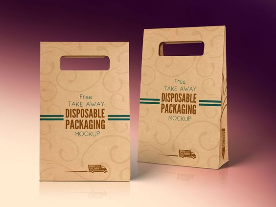 Free Kraft Paper Disposable Food Bag Packaging Mockup PSD - 09