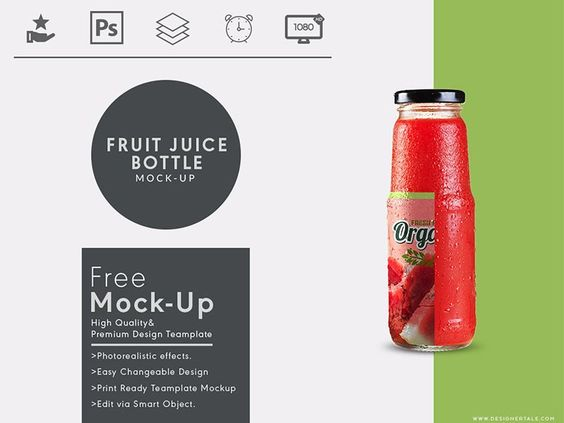Fruit Juice Bottle Mock up Free Psd Template - 27