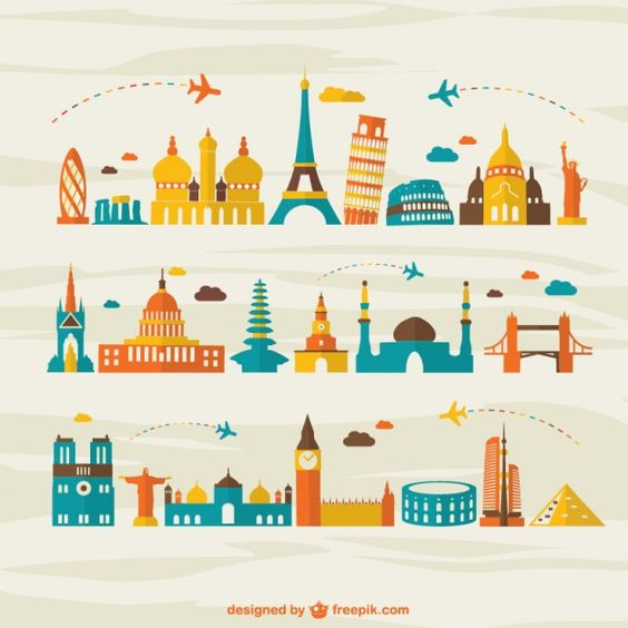 Air travel landmark tourism vector Free Vector