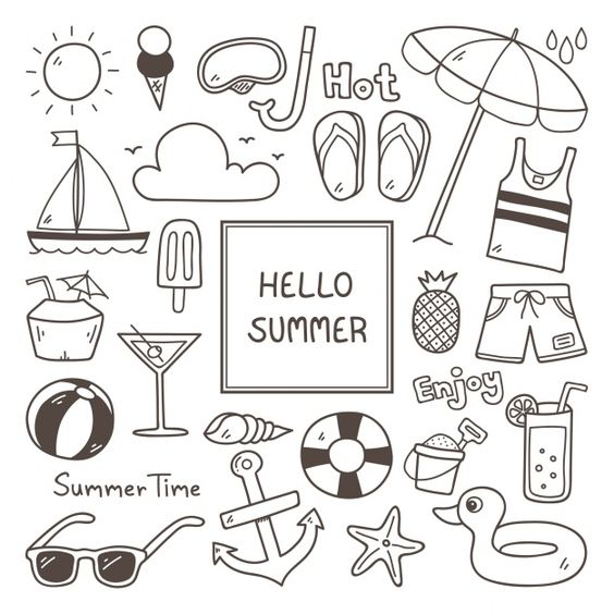Summer icon set Free Vector