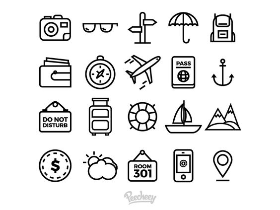 Set of simple travel icons par Peecheey