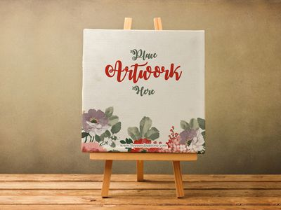 Free Canvas on Wooden Stand Mockup - 23