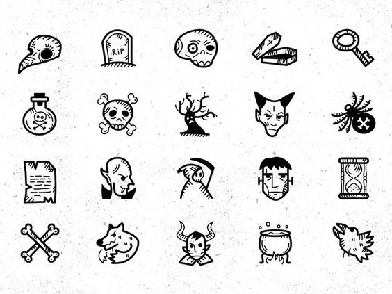 Halloween Handdrawn Icon Set