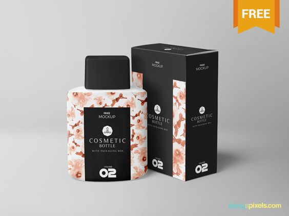 Free Realistic Cosmetic Bottle Mockup