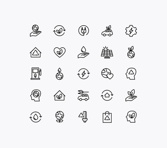 Energy Source & Ecology Icons - White