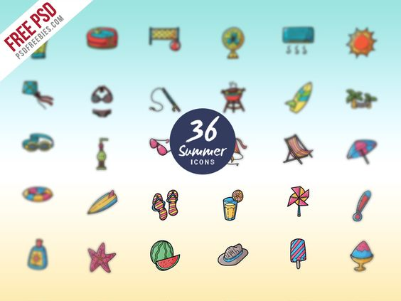 Freebie : Summer Vacations And Holidays Icon Set Free Psd