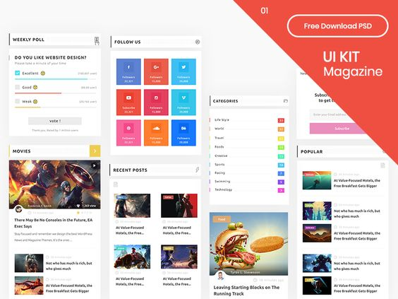 UI Kit Magazine Part 01 - Free Download PSD par Hasan Sibakhi 24
