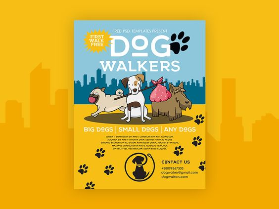 Free Dog Walkers Flyer in PSD 13