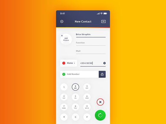 Add New Contact. IOS App ReDesign #Freebies par Brice Séraphin 31