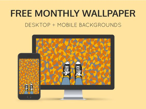Free monthly calendar + mobile wallpaper par Ashleigh Green