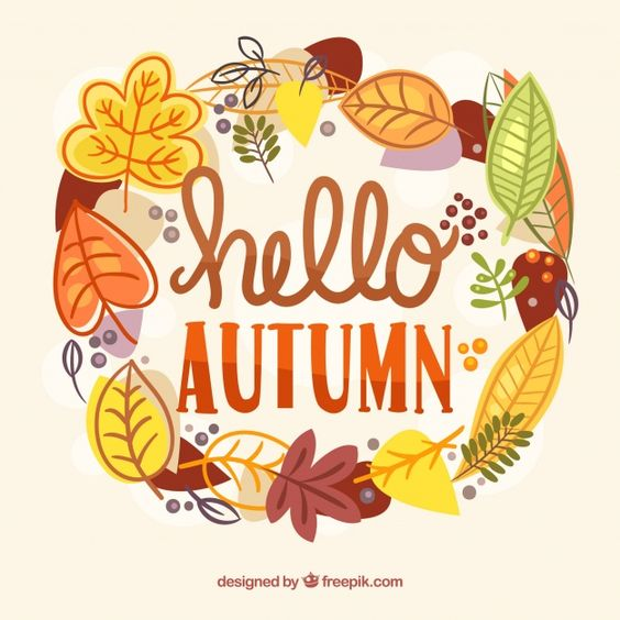 Beautiful Hello Autumn Lettering Background par Miss ChatZ