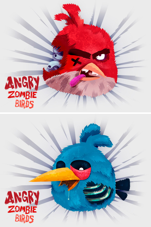 Angry birds illustrations zombies spécial