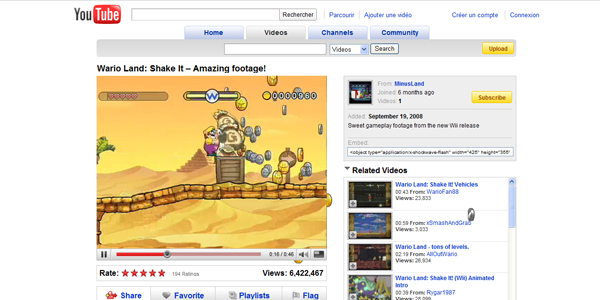 Wario Shake it, page youtube