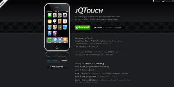 jQTouch — jQuery plugin for mobile web development