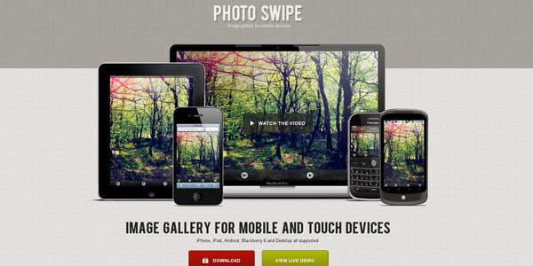 PhotoSwipe application mobile