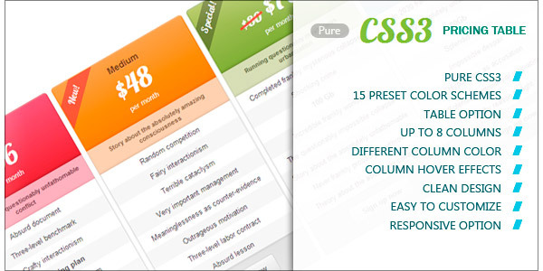 pure-css3-pricing-table
