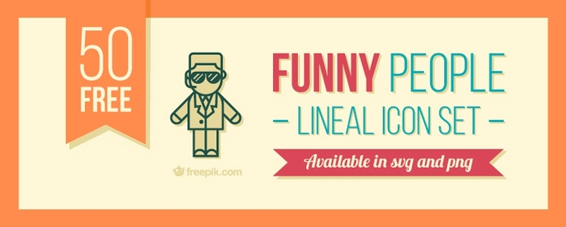 funny-people-lineal-icon-set