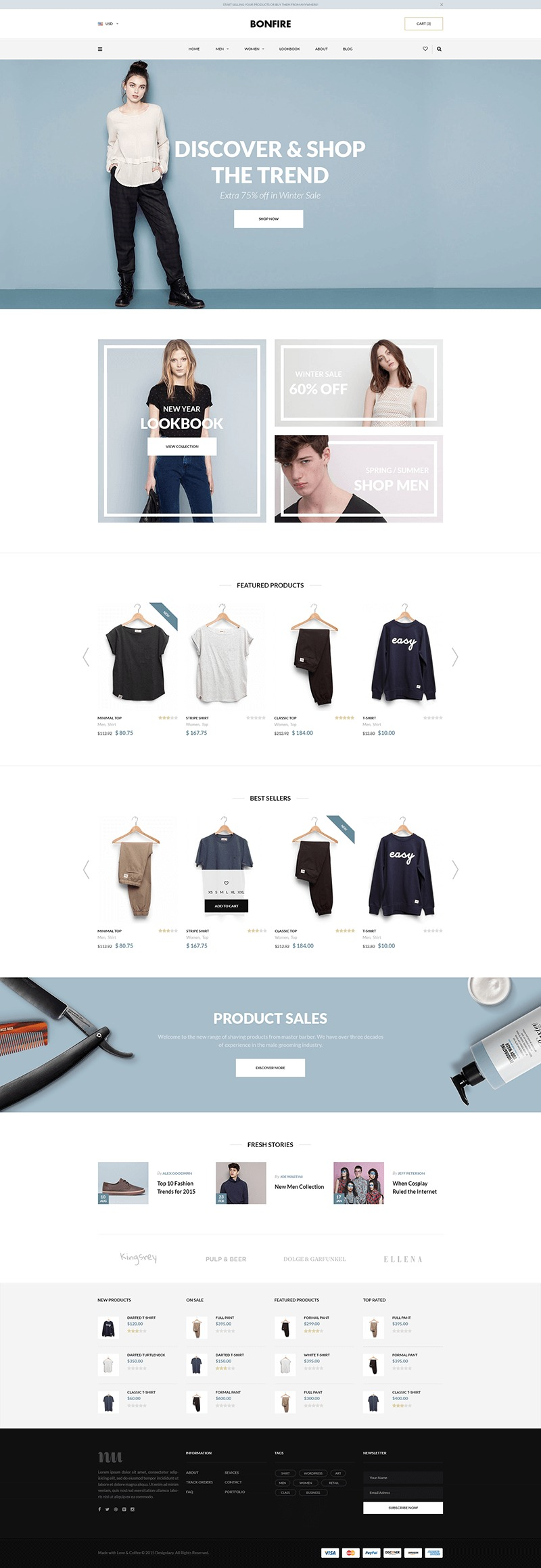 Bonfire – E-commerce Website Home PSD