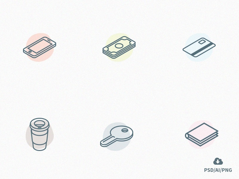 Free-Set-of-Everyday-Carry-Isometric-Icons