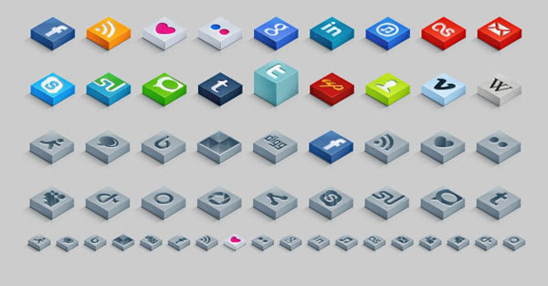 isometric-social-icons