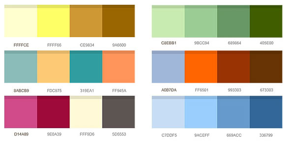 http://www.graphicsfuel.com/2011/10/12-set-of-color-combinations-psd/