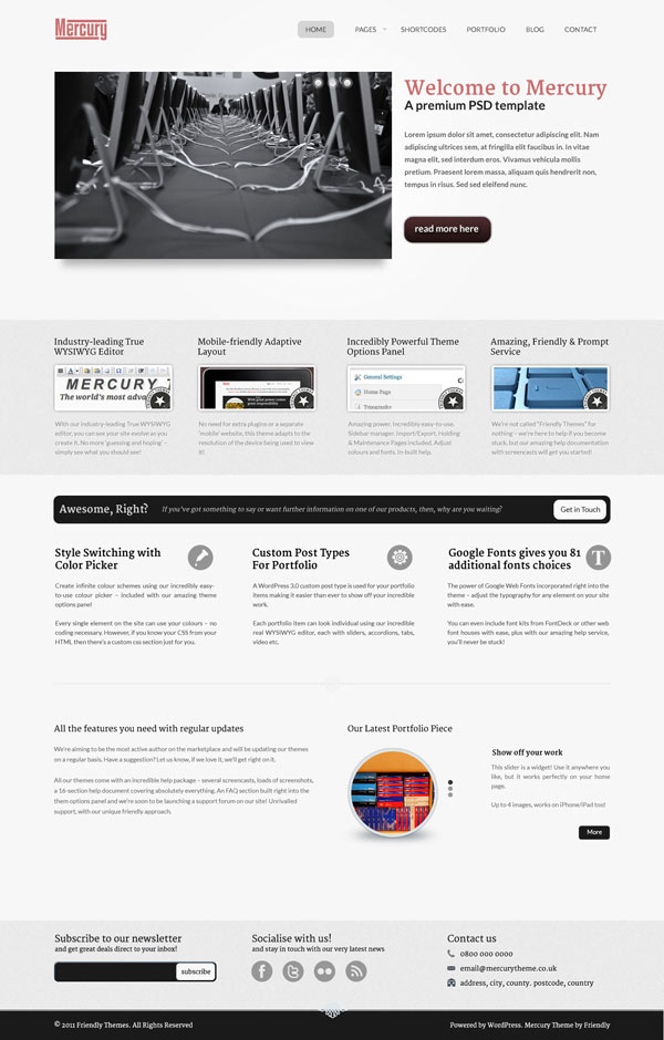 template wordpress mercury