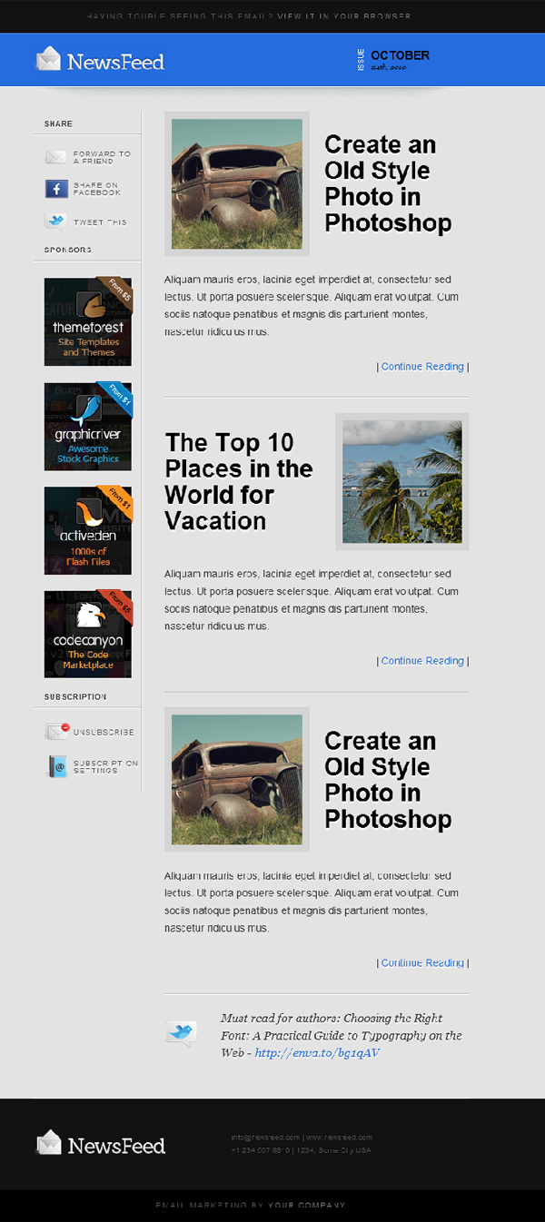 newsfeed-email-template
