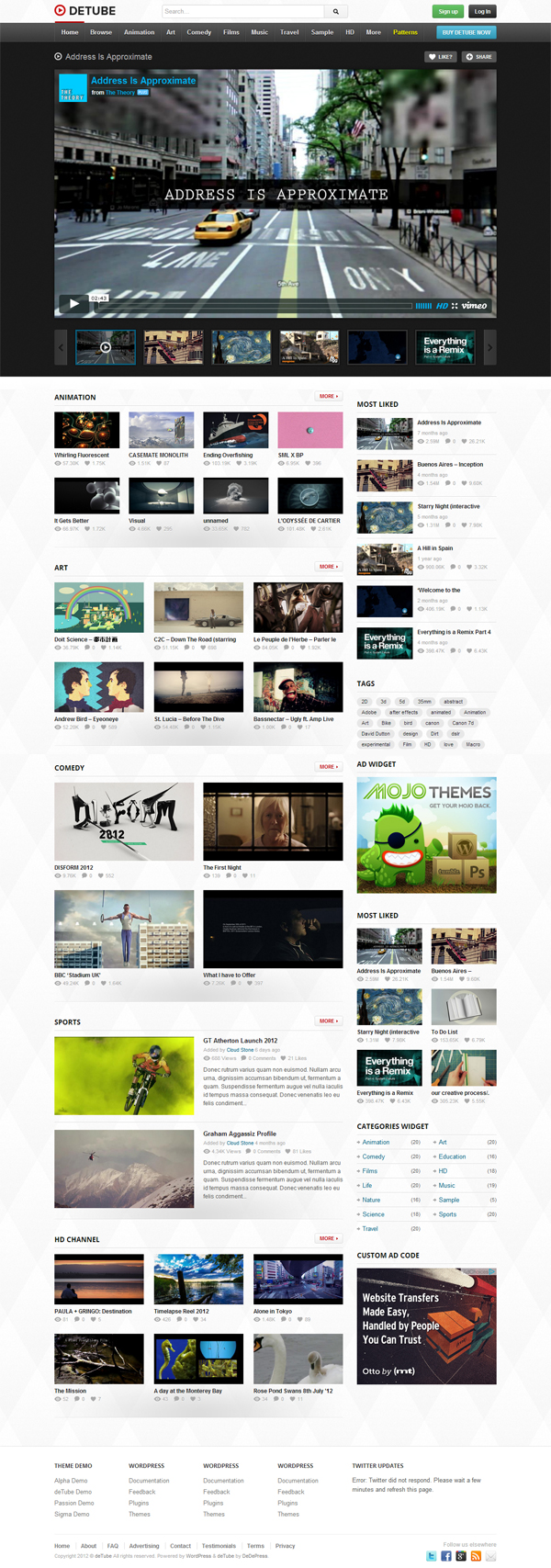 Detube template wordpress