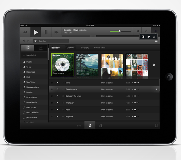 music ipad app psd