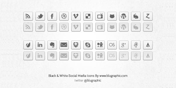 black-white-social-network-buttons-psd