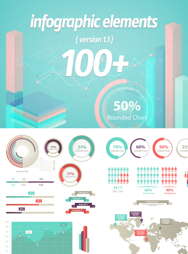 100-infographic-elements-vector